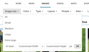 Bing Image options for people looking for specifc image sizes